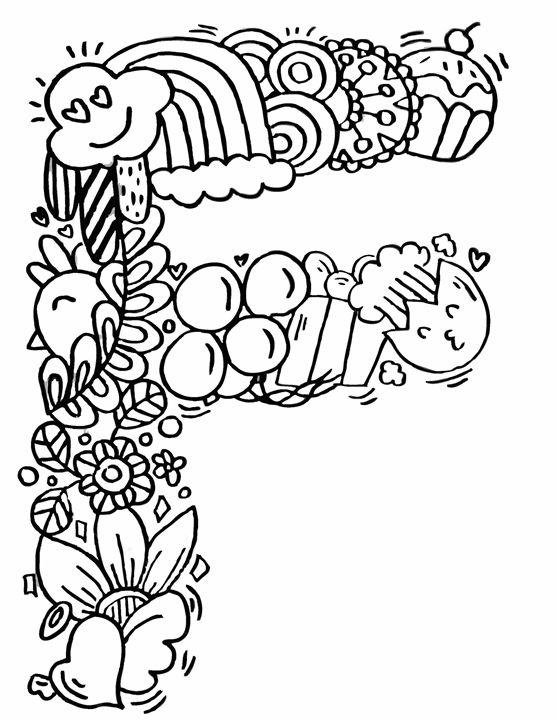 """Alphabet"""" F """" doodle art - Elephant Bell"""