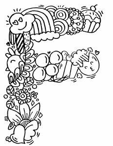 "Alphabet"" F "" doodle art"