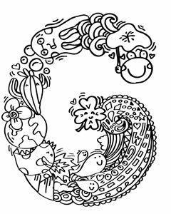 "Alphabet "" G "" doodle art"