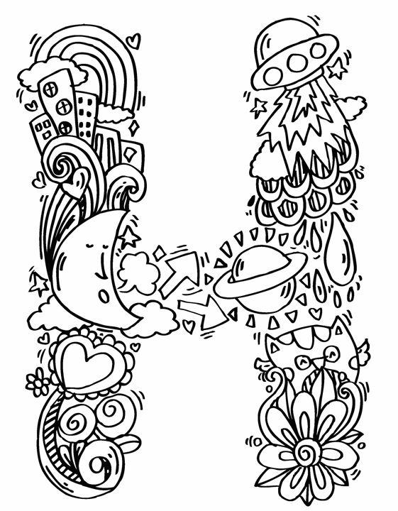 """Alphabet """" H """" doodle art - Elephant Bell"""