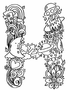 """Alphabet """" H """" doodle art"""