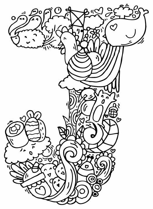 """Alphabet """" J """" doodle art - Elephant Bell"""