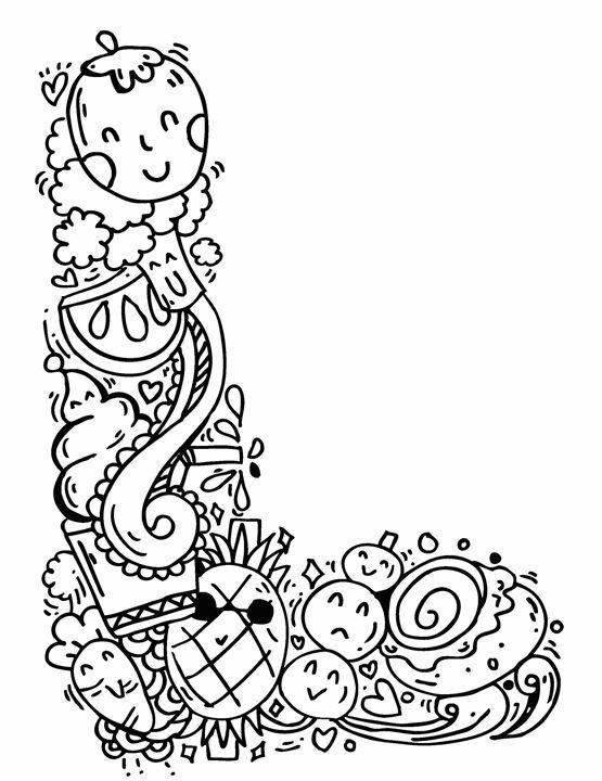 """Alphabet """" L """" doodle art - Elephant Bell"""