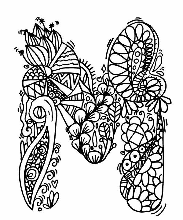 """Alphabet """"  M """" doodle art - Elephant Bell"""