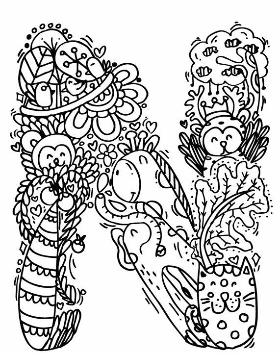 """Alphabet """" N """" doodle art - Elephant Bell"""