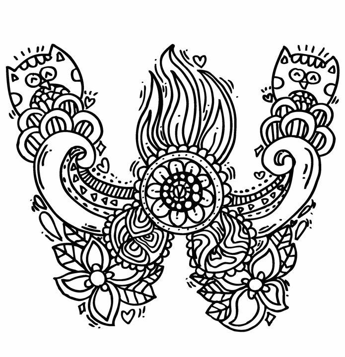 """Alphabet """"  W """" doodle art - Elephant Bell"""