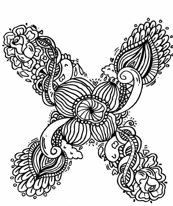 """Alphabet """"  X """" doodle art - Elephant Bell"""
