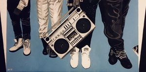 Boombox N Kicks 10x20 in acrylic