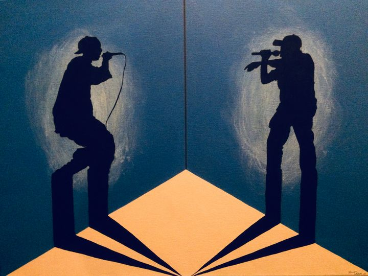 Shadow Rap Battle 18x24in acrylic - Bryan Whipple Portraits