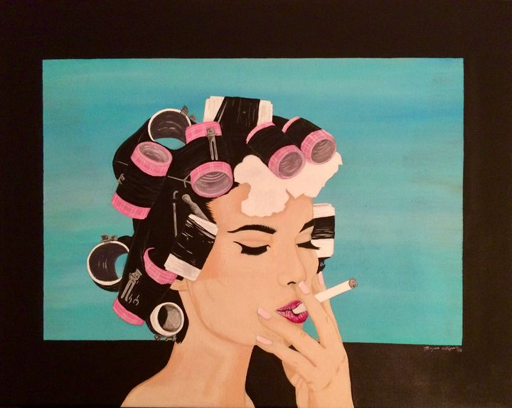 Curly Girl 16x20in acrylic painting - Bryan Whipple Portraits