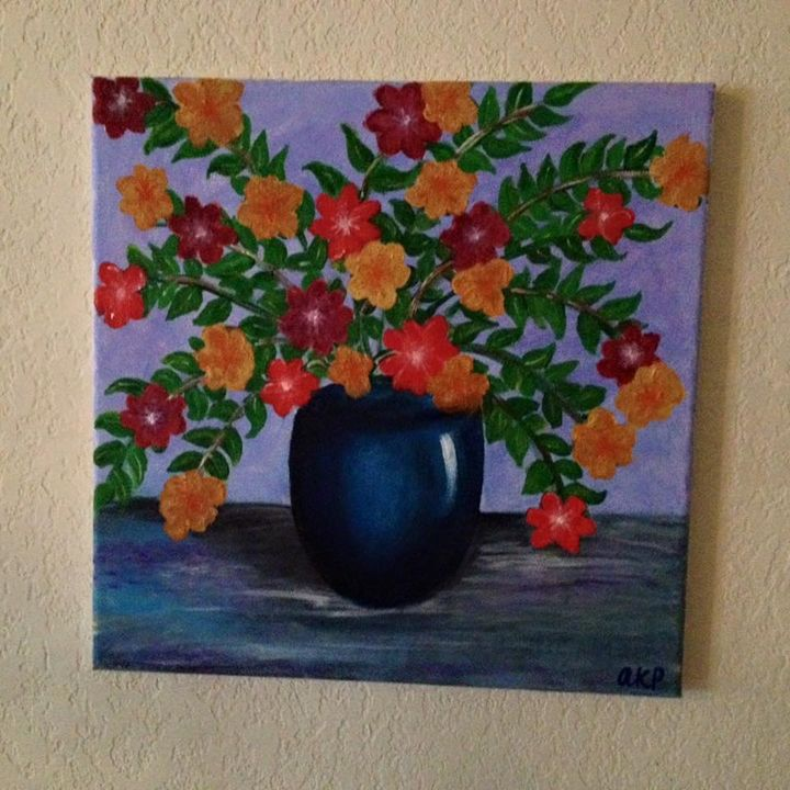 Colorful Flower Vase - Acrylics by Aditi