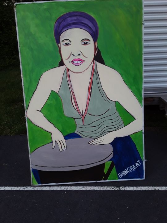 Lady playing the drums. - Joseph
