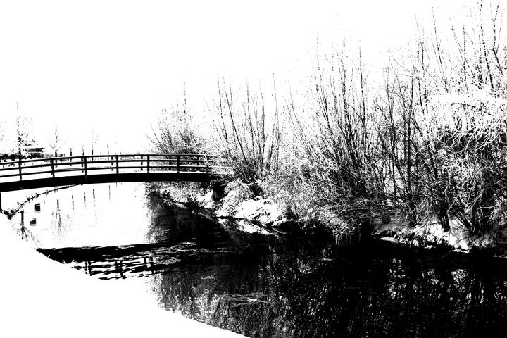 Bridge and Stream Winter Scene - Alan Harman Photography