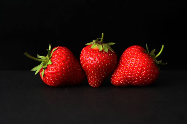 Three Strawberries On Black - Alan Harman Photography