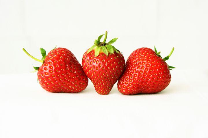 Three Strawberries On White - Alan Harman Photography