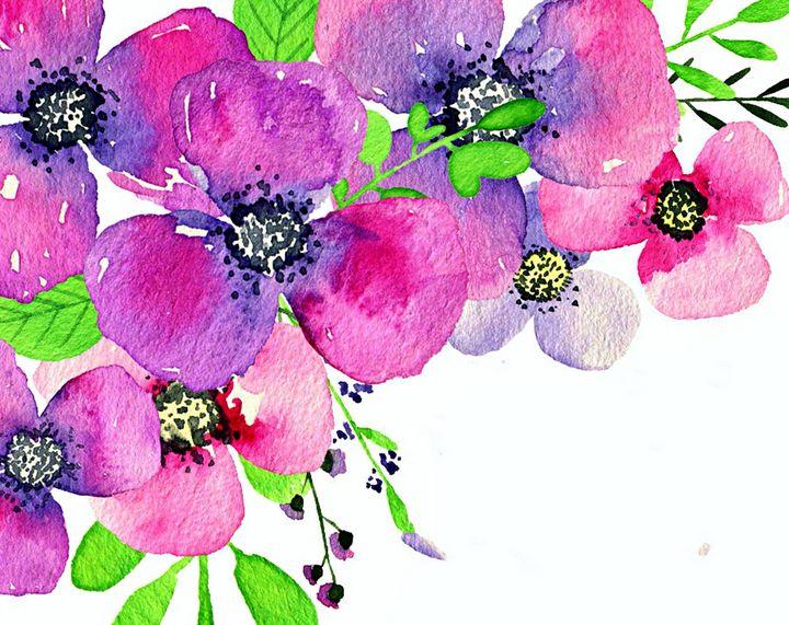 bright modern flowers - Acadia art