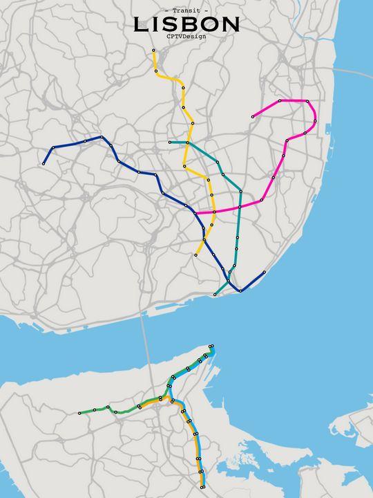 Lisbon Transit Map - CPTVDesign