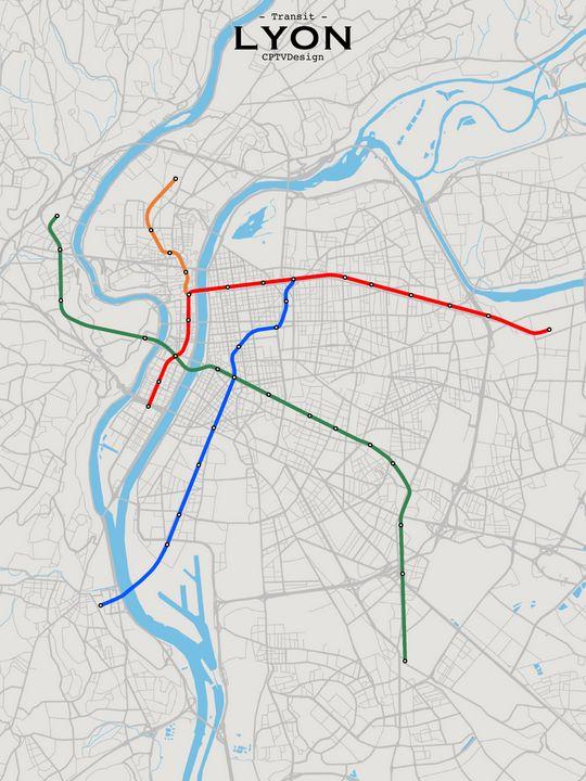 Lyon Transit Map - CPTVDesign