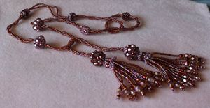 Mauve Beaded Czech Glass Lariat