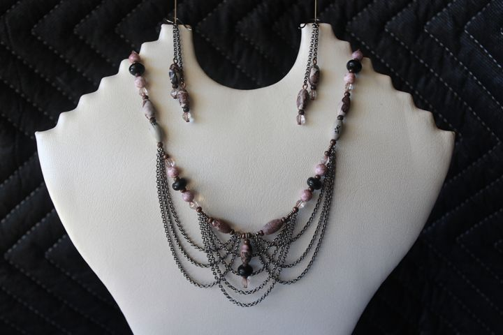 Picasso Bead Necklace and Earrings - Alysse's Pieces