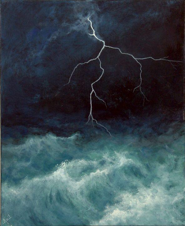 night lighteninig - Avril Art Painter
