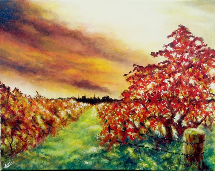 monbazillac vines - Avril Art Painter