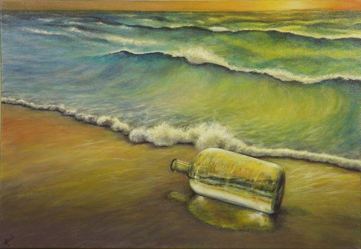 bottle on the beach - Avril Art Painter