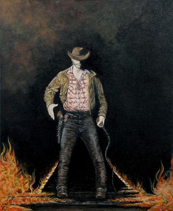 wild cow boy - Avril Art Painter