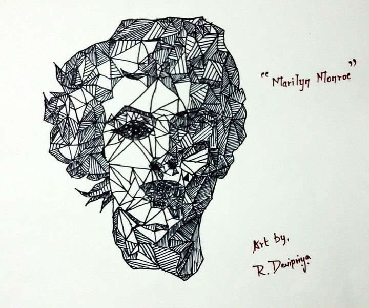 Line Art of Maryln Monroe - My Art Glimpse