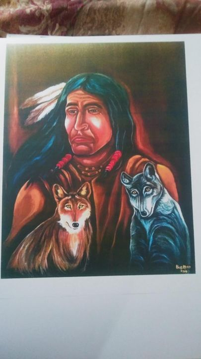 Indian and Wolves for sale - bob kelly originals
