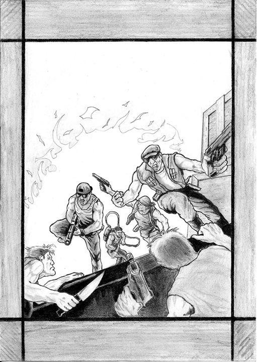 Action heroes - pencil drawing - Nemanja