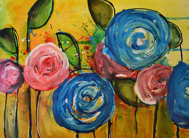 Mixed Media Flowers - Heather Kindt Art