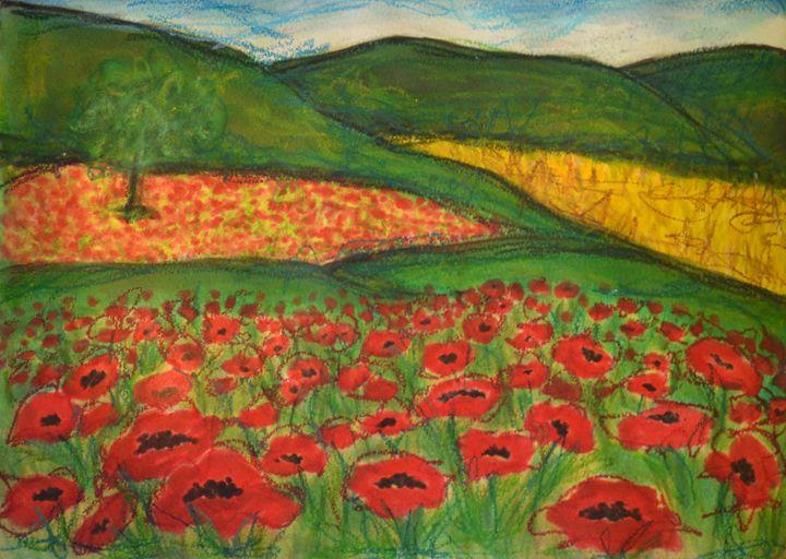 Poppy Field Left - Heather Kindt Art