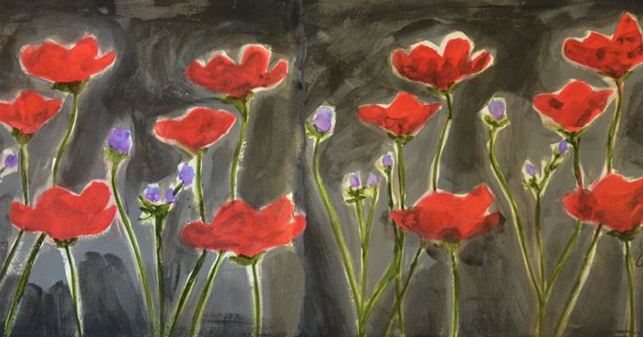 Poppies in Black - Heather Kindt Art