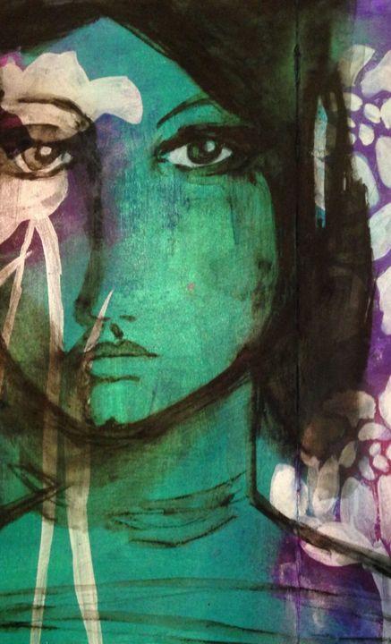 White Poppy Lady - Heather Kindt Art