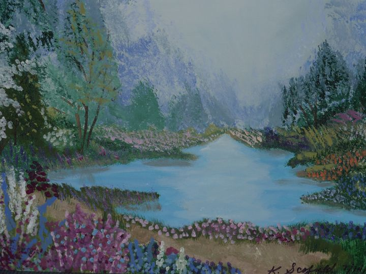 Lake in the Mountains - Paintings by K. Scofield