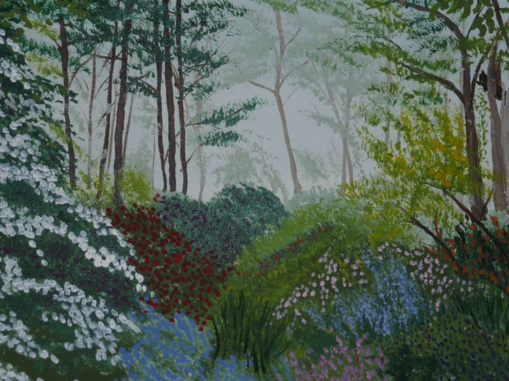 Peaceful Garden Forest - Paintings by K. Scofield