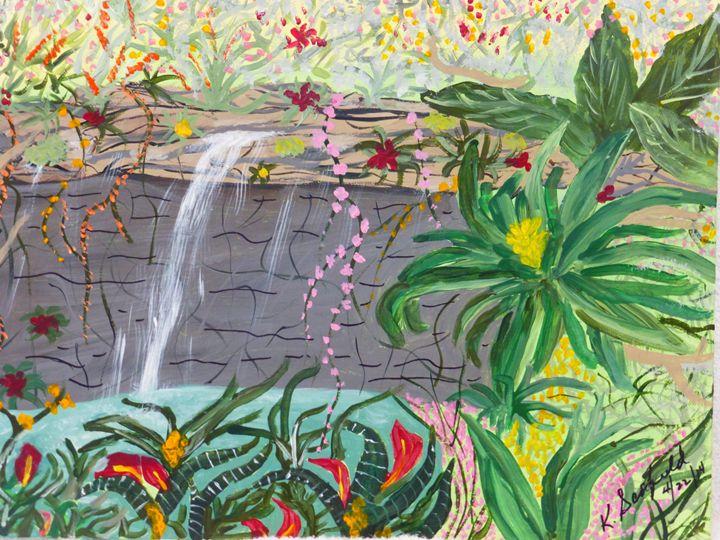Jungle Waterfall - Paintings by K. Scofield