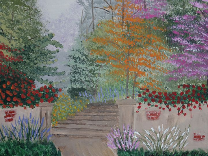 Garden Stairs - Paintings by K. Scofield