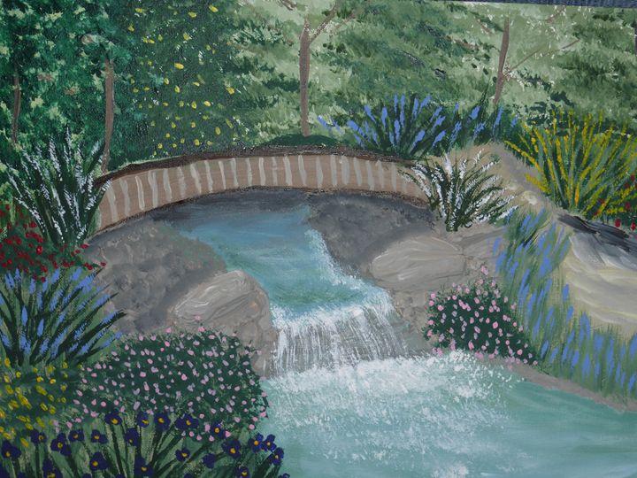 Waterfall in the Garden - Paintings by K. Scofield