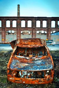 carwreck in  industrial setting