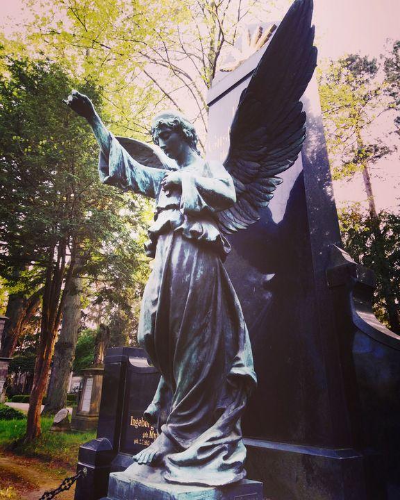statue  of   angle  on  tombstone - EUGENE  JONAI