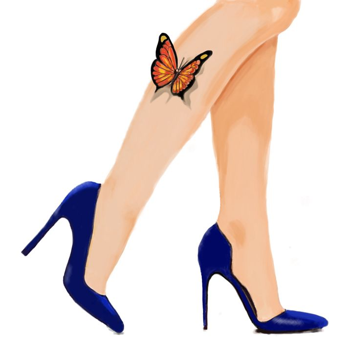 Butterflies and blue shoes - Helenbowmanart