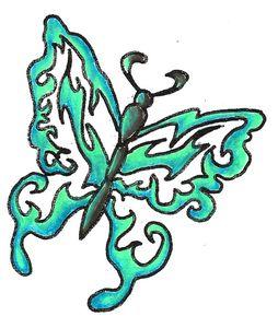 Tribal butterfly blue