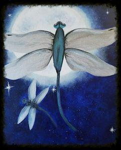 Dragon flies in the moonlight