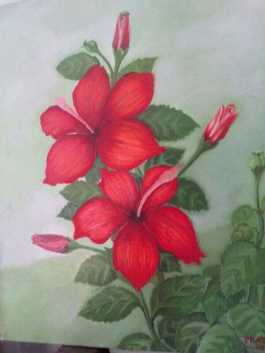 bunga sepatu merah - Mas Tok paint art