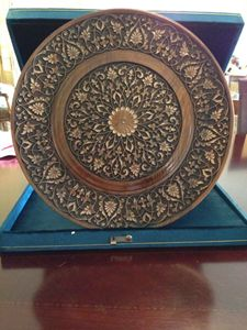 A hand crafted wooden plate