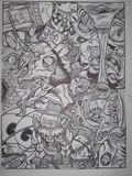 inked drawing in metal frame