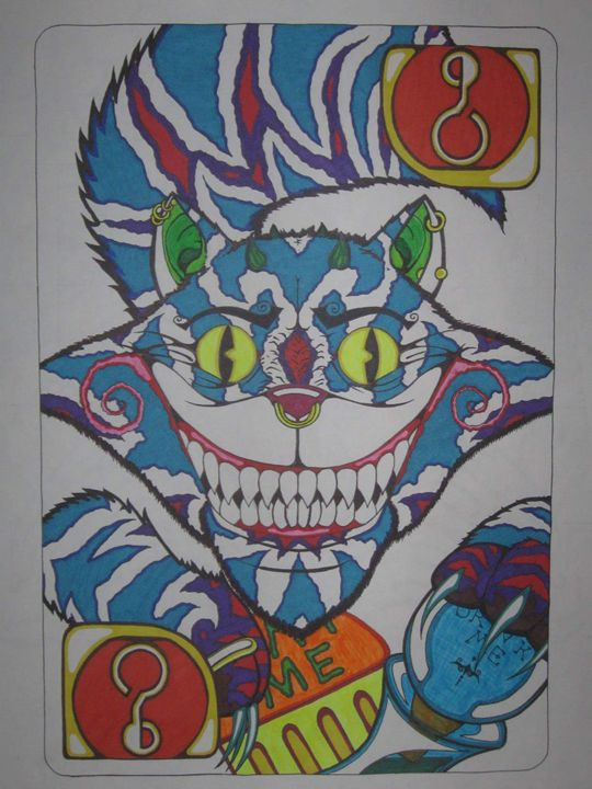 cheshire cat playing card - VADR-visceral art and design