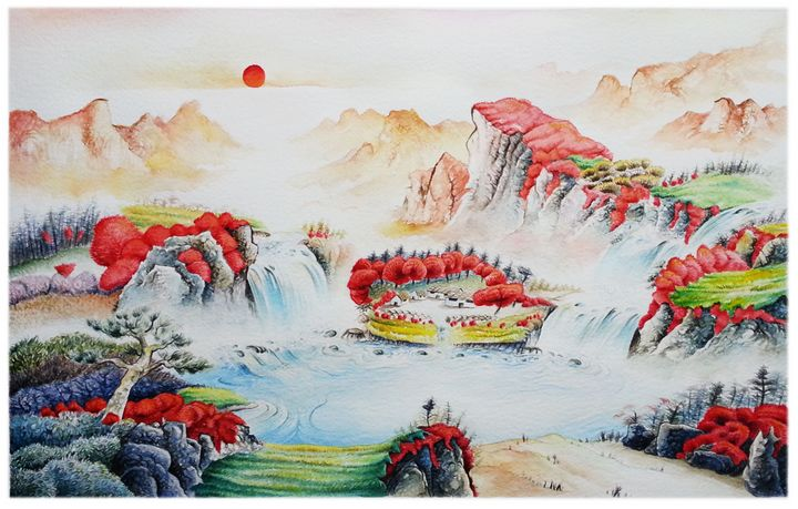 Chinese landscape red sun 1 - Wag